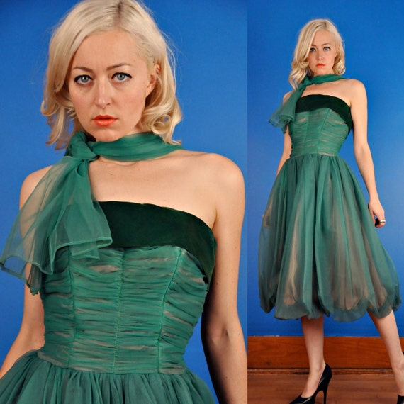 Green Vintage 50s Chiffon and Velvet Ball Gown/Part Dress XS Extra Small/S Small