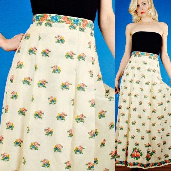 Mr Dino Vintage 70s Cream and Ditsy Floral Bouquet Print Wool Blend Maxi Skirt M Medium/L Large