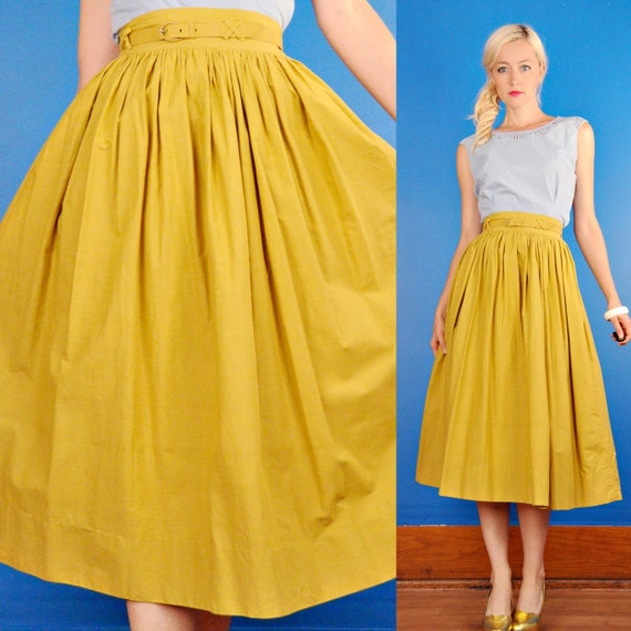 Yellow High Waisted Skirt - Skirts
