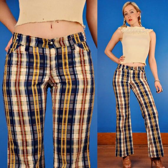 Vintage 70s Plaid Seersucker Bell Bottoms Pants S M