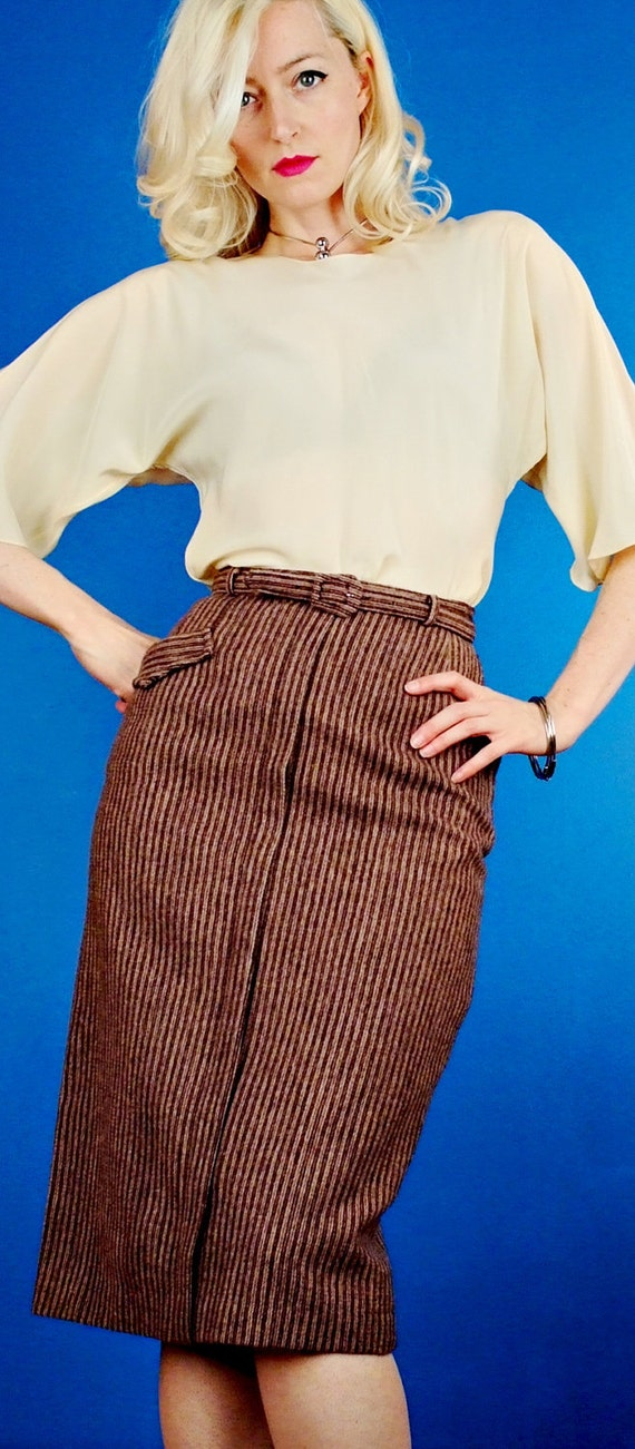 Brown & Tan Tweed Stripe VIntage 1950s/50s HIgh-Waisted Wool Pin-Up Pencil Skirt XS Extra Small