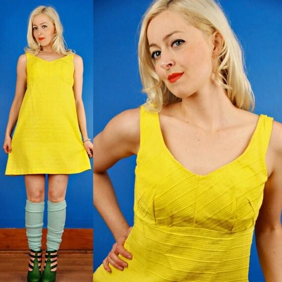 Sunshine Yellow Vintage 60s Mod Beach Mini Sun/Swim Dress M