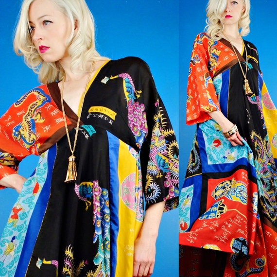 LaVetta Beverly Hills Vintage 70s Couture Japanese Silk Scarf Print Maxi Dress S