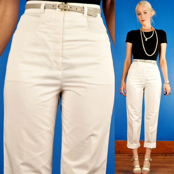 Courreges Vintage 70s 80s High Waist Skinny White Cotton Twill Trousers/Pants 40/4/S