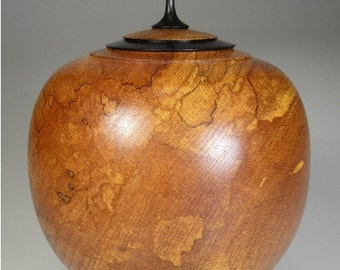 Lidded Bowl Woodturned with Ebony Carved Finial