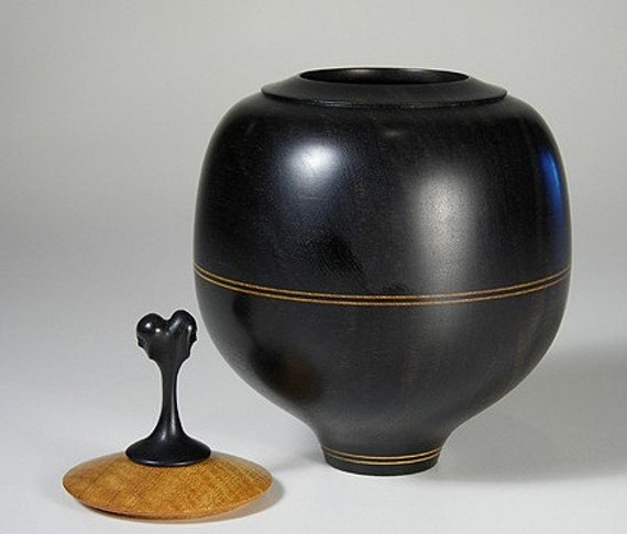 Black Ebony bowl with carved finial