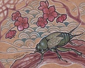 Cricket Plum Tree Forest Flowers Recycled Paper Original ACEO