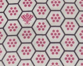 Cream Pink Brown Beehive honeycomb hive bees fabric - 1/2 yard LAST ONE