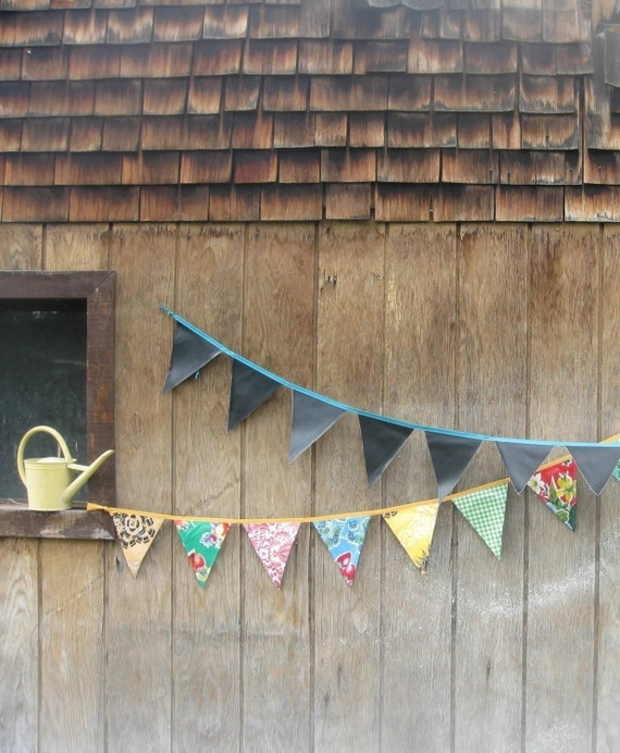 Chalk Cloth Oilcloth Pennant Party Banners - Outdoor Entertaining