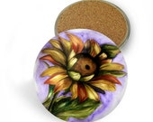 Set of 4 Coasters sunflowers flowers garden plants sky seeds blue orange yellow green  white purple