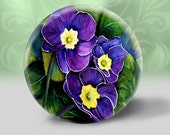 1 pocket mirror vintage purple flowers yellow green red blue