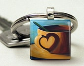 Key Chain Charm square glass blue cup coffee heart shadow mini print keys car house home - ninaswindow