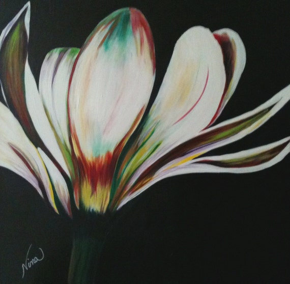 Original Acrylic Painting on Panel Board- Daisy Dancing 24 in. x 24 in.