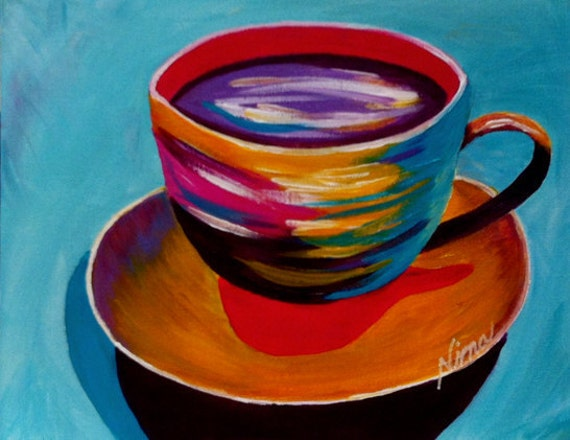 "Whimsical multi color Coffee cup heart r original acrylic canvas board 9""x12"""