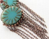 It's Raining It's Pouring - turquoise and brown copper earrings