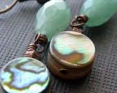 Green aventurine abalone and copper earrings ocean inspired rustic earrings
