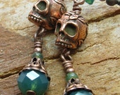 Copper Skull earrings with green swarovski crystals day of the dead dia de los muertos
