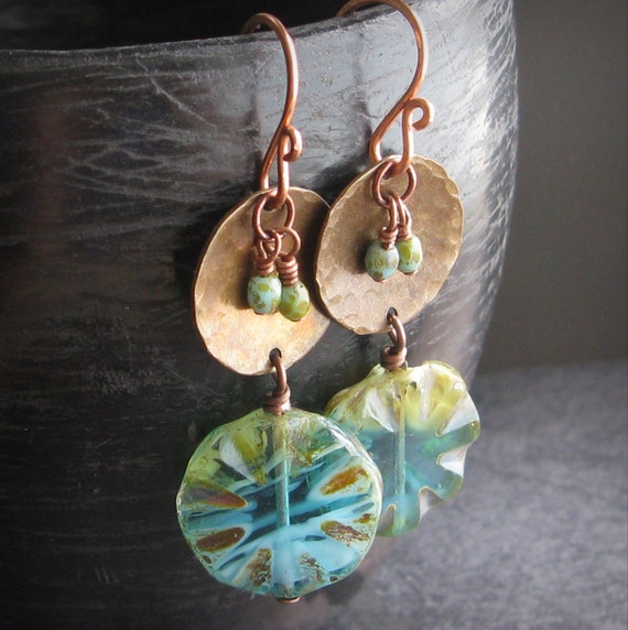 Rustic mixed metal earrings brass copper earrings altered distressed metals - Windows with a View