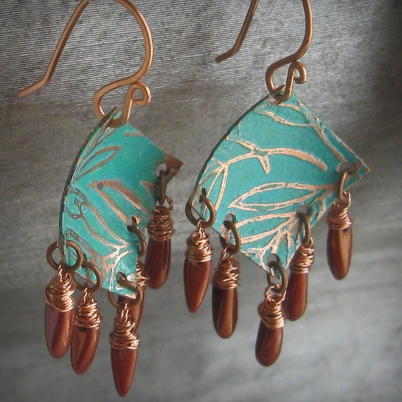 Turquoise and Red Alcohol inked copper hand etched textured hand dyed copper earrings - Red Earth