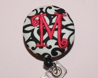 Many fabrics to design YOUR Badge Reel. Monogrammed single letter, Black and White