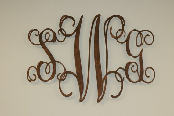 Wood INITIALS in Monogram for Home Decor, Sz LARGE, UNFINISHED, ready to stain or paint, Shipping Included