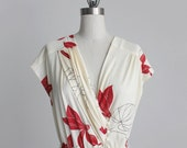 Reserved For Lisa until 1/13/12- FLORAL DRESS 1980s Vintage Cream Floral Full Skirt Wrap Dress