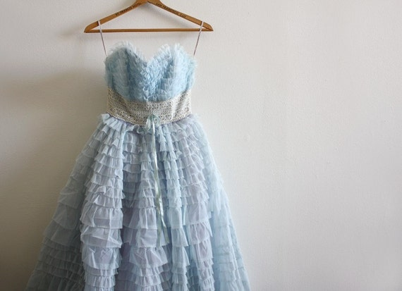 HOLIDAY SALE 50s vintage blue ruffled strapless chiffon party dress