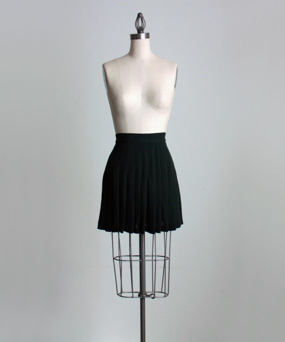 SILK MINI SKIRT 1990s Vintage Pleated Black Silk Flouncy Full Mini Skirt