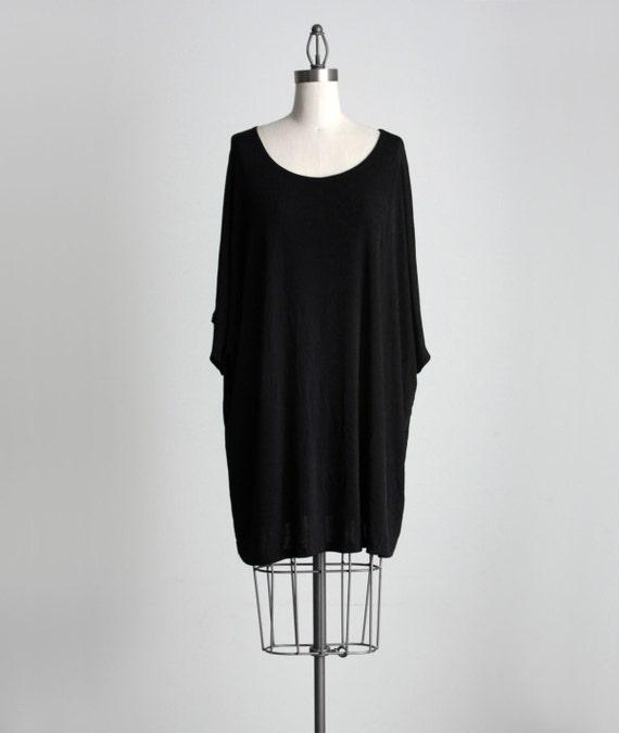 BLACK SHIRT DRESS 1990s Vintage Simple Oversize Spandex Grunge Tunic Shirt Mini Dress