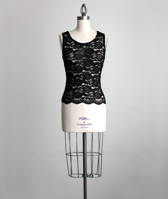 BLACK LACE Tank 1990s Vintage Black Floral Lace Sheer Sleeveless Blouse