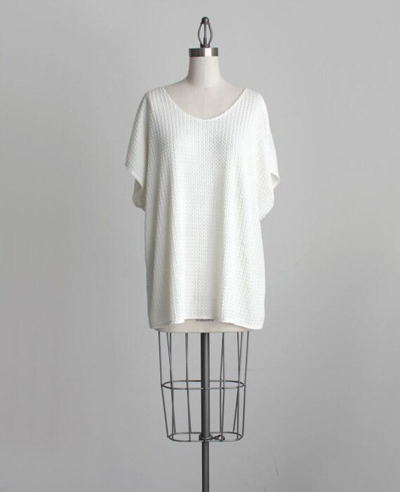 IVORY BLOUSE 1990s Vintage Ivory White Grunge Slouchy Tunic Shirt
