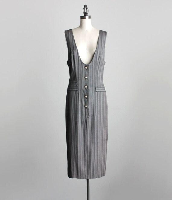 MAXI JUMPER DRESS 1990s Vintage Gray Button Down Grunge Maxi Dress