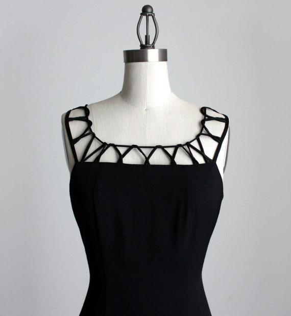 BLACK MAXI DRESS 1990s Vintage Black Cage Grunge Evening Maxi Dress