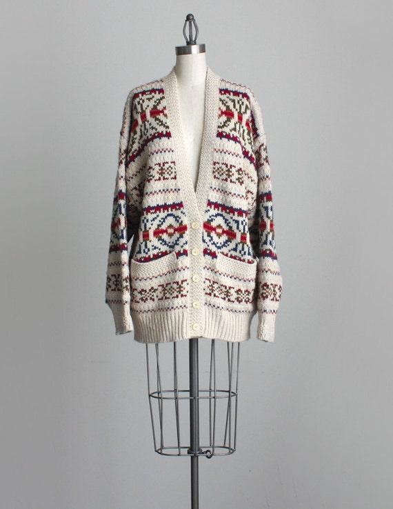 SOUTHWESTERN CARDIGAN 1990s Vintage Tan Oversized Knit Sweater Coat