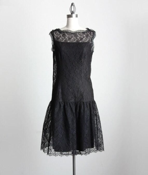 VINTAGE BLACK DRESS 1980s Vintage Lace Drop Waist Party Dress