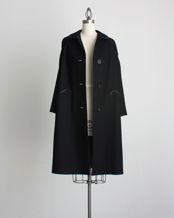 VINTAGE  BLACK COAT 1960s Vintage Classic Black Wool Full Length Coat