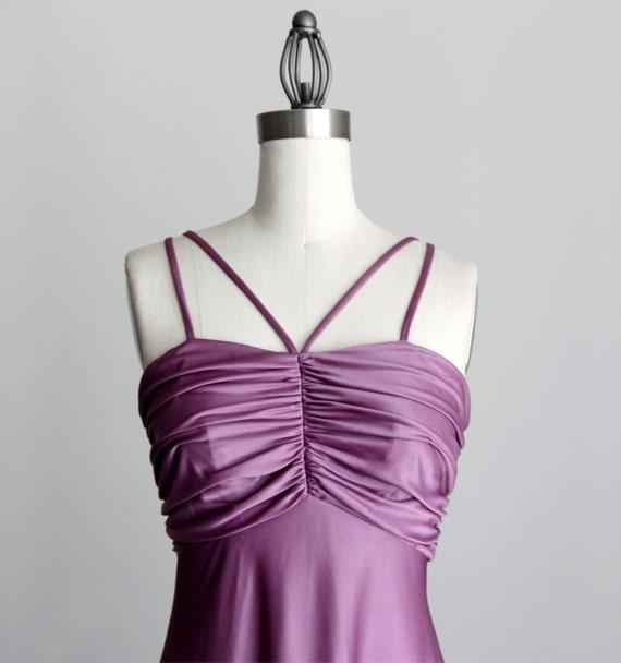 LAVENDER MAXI DRESS 1970s Vintage Empire Waist Evening Maxi Sun Dress