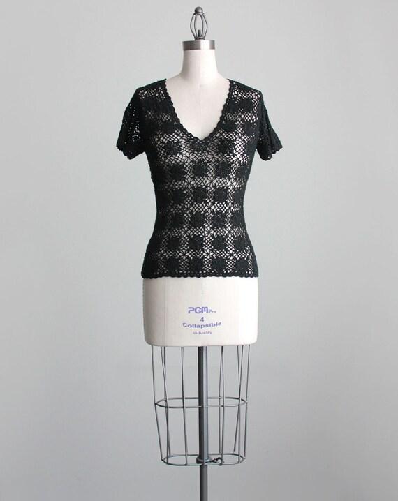 BLACK CROCHET SHIRT 1990s Vintage Black Floral Lace Knit Shirt