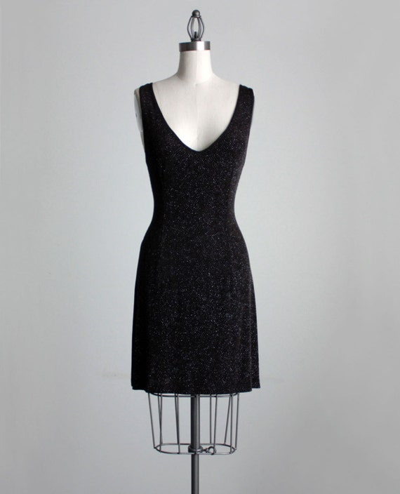 BLACK MINI DRESS 1990s Vintage Black Sparkle Spandex Tie Back Grunge Mini Dress