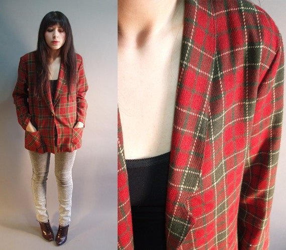 80s vintage red and green plaid tartan slouch jacket