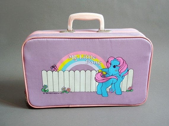 vintage 1983 pink and lavender My Little Pony suitcase