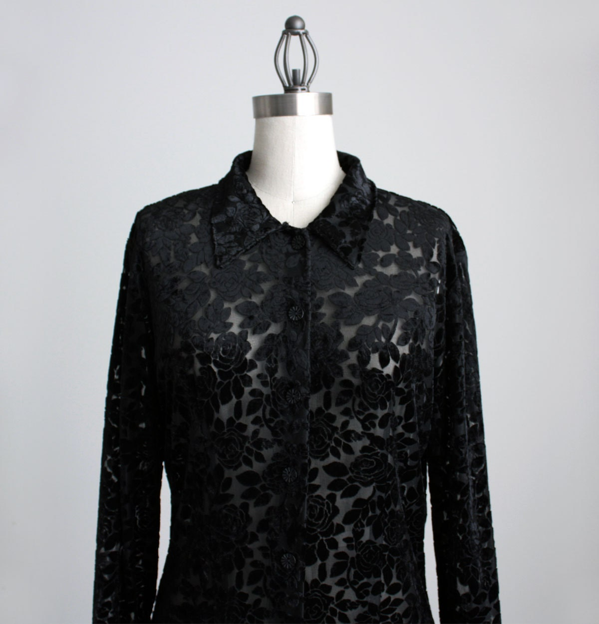 Black lace button up blouse breeze clothing for Red velvet button up shirt