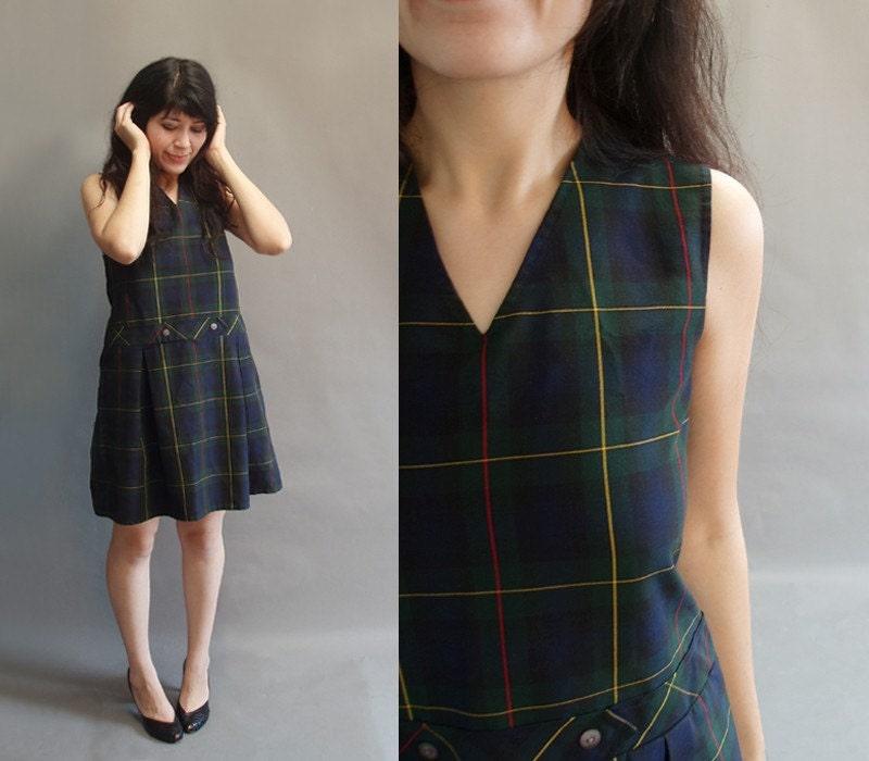 80s Vintage Plaid Print School Uniform Mini By