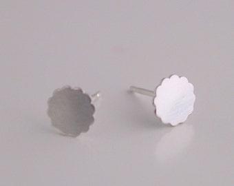 Small Flower Stud Earrings - silver