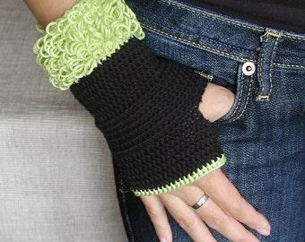 Crocheted Fuzzy Fingerless Gloves - PDF Crochet Pattern