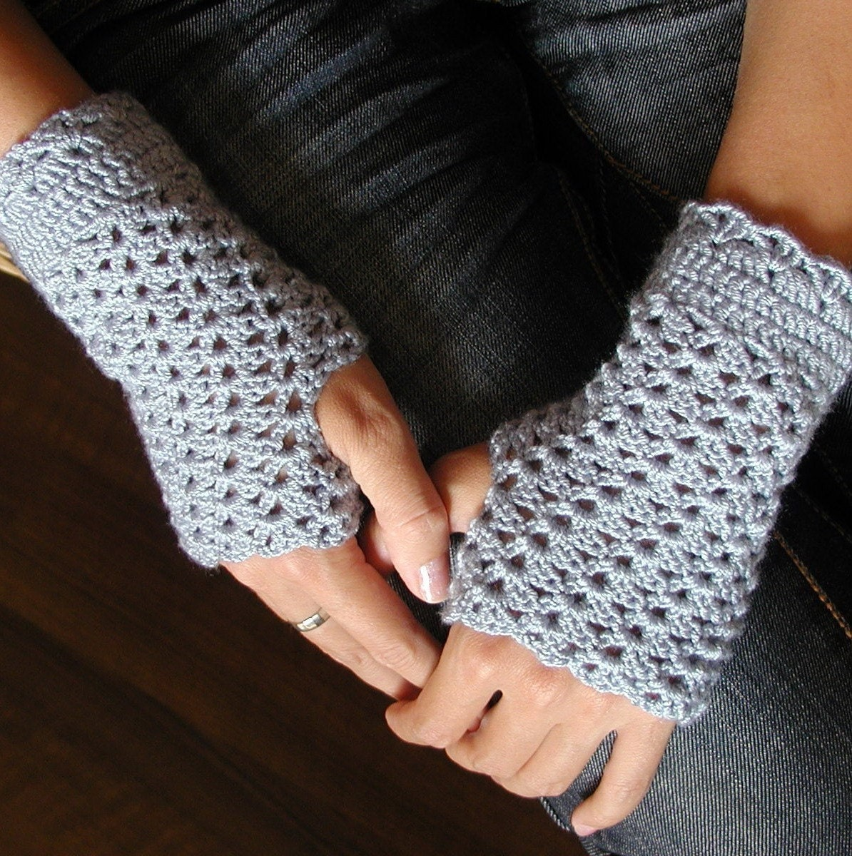 Crocheting Fingerless Gloves : Crocheted Fingerless Mittens PDF Crochet Pattern by FrougesArt