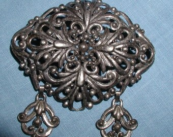 Vintage Huge Dangler Pierced Filigree Lavaliere Brooch