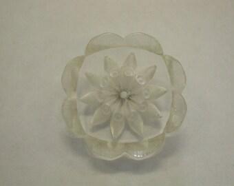 Vintage Carved Lucite Flower Button