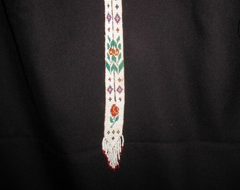 Antique Beaded Flapper Necklace Floral Rose