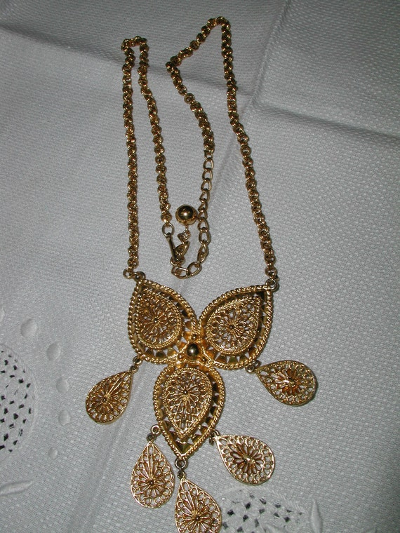 Vintage Filigree Owl Necklace with Double Link Chain